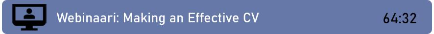 Linkki webinaaritallenteeseen: Making an Effective CV